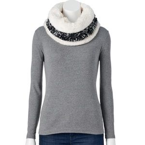 Cable knit chenille lined snood/neck warming